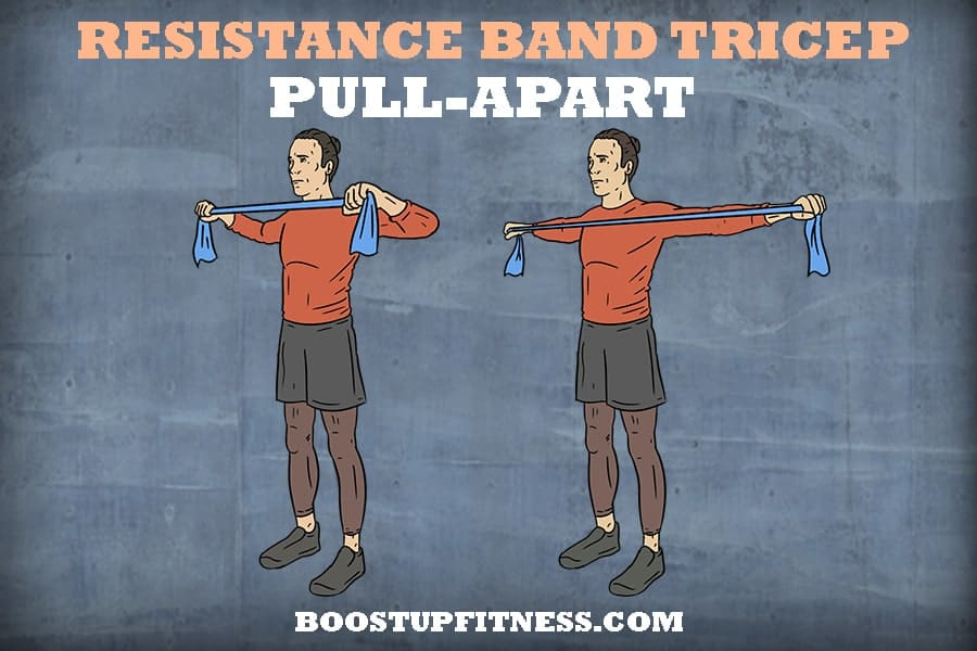 Resistance band tricep pull apart