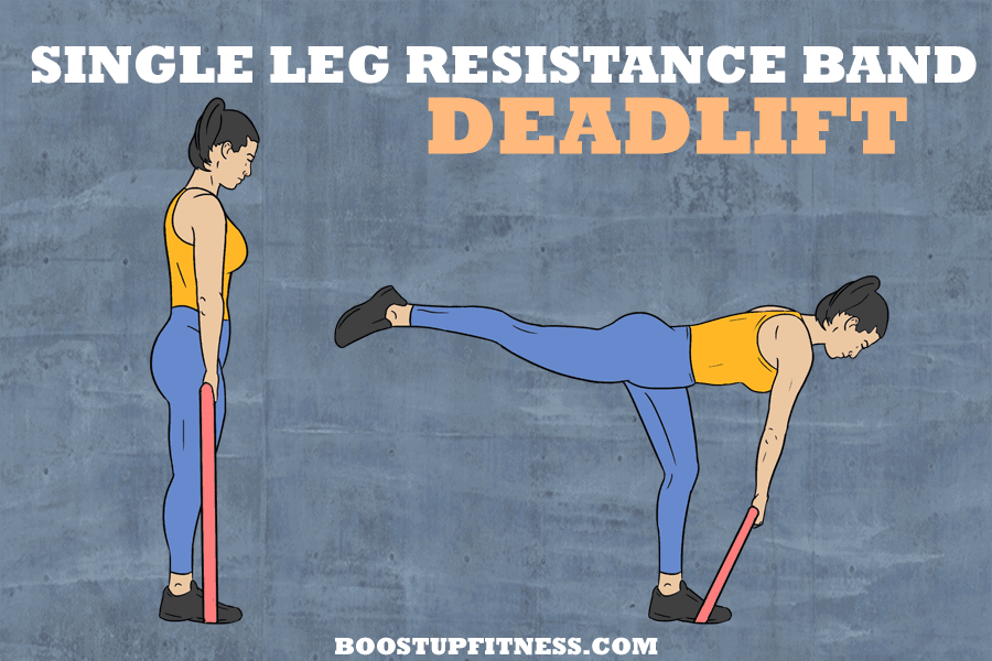 single leg resistance band deadlift