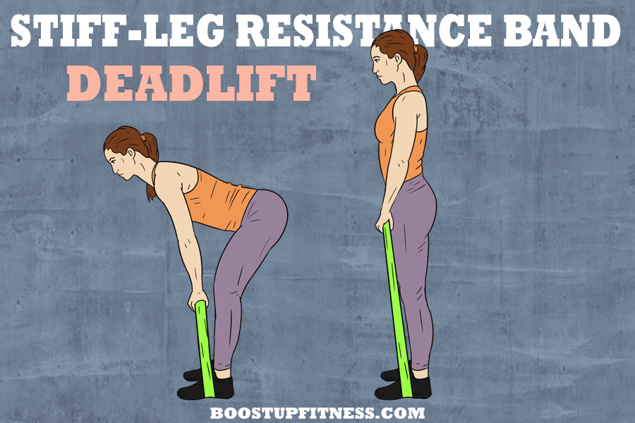 stiff-leg resistance band deadlift