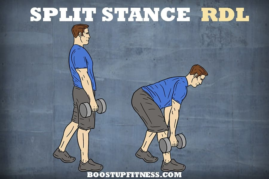 Split stance Romanian deadlift for glutes
